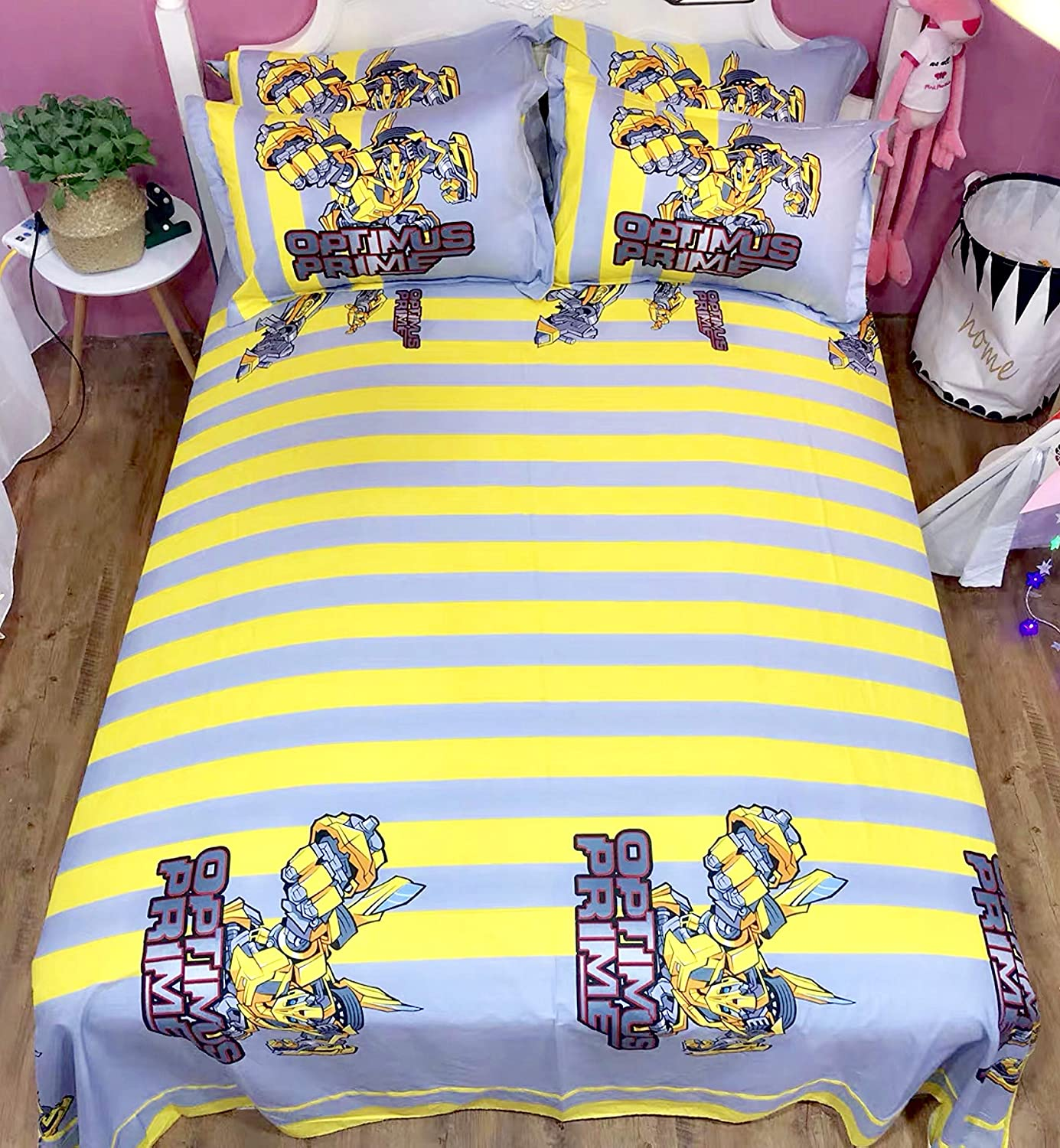 King Size Featuring Transformers Bumblebee Bedding Sheet Set Single Queen Twin Full Size【100/% Cotton】【Free Express Shipping】 Yellow Cool Cartoon Superhero Bed 3 and 4 Pieces