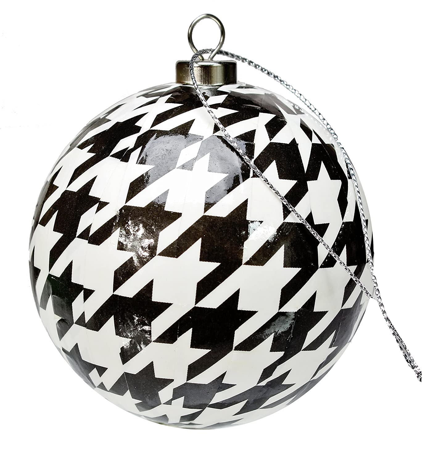 amazoncom black and white check christmas ornaments 4 pack houndstooth party collection by havercamp home kitchen