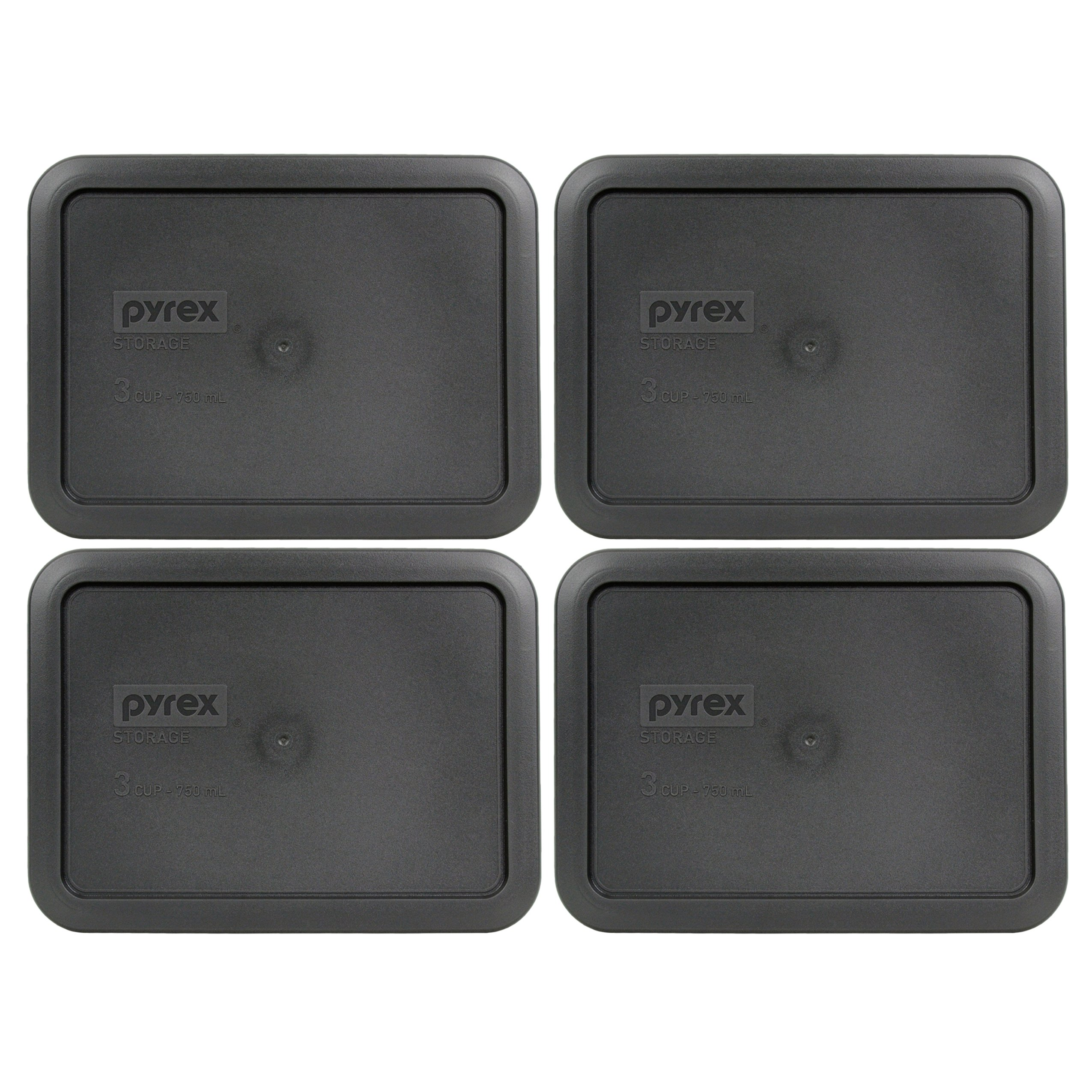 Pyrex 7210-PC Rectangle 3 Cup Charcoal Grey Storage Lid - 4 Pack by Pyrex