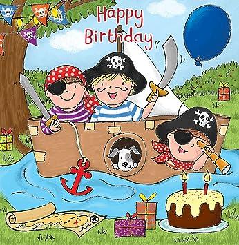 Twizler Happy Birthday Karte Fur Jungen Mit Piraten Boot Kuchen