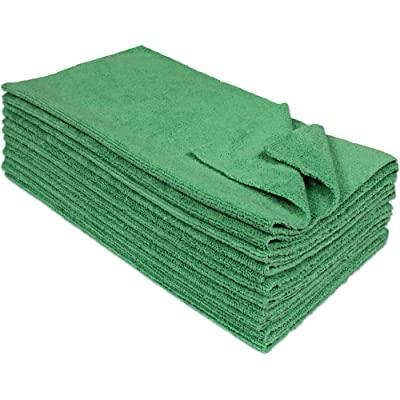 Eurow Microfiber Ultrasonic Cut Cleaning Towels 14 x 14in 300 GSM Green 12-Pack: Automotive