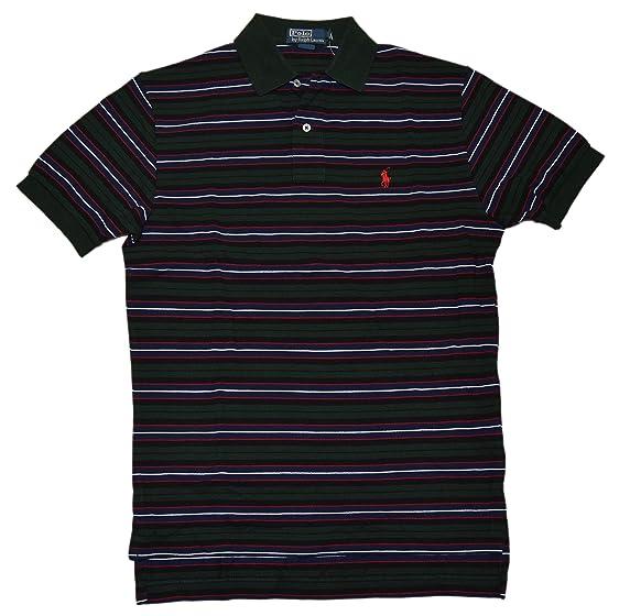 Polo Ralph Lauren Men Striped Classic Mesh Polo T-shirt (S, Bentley Green