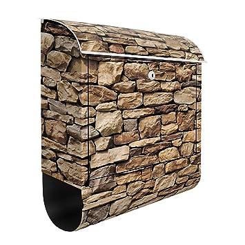 American Buzón, diseño de pared de piedra, muro de piedra, ladrillo, buzón