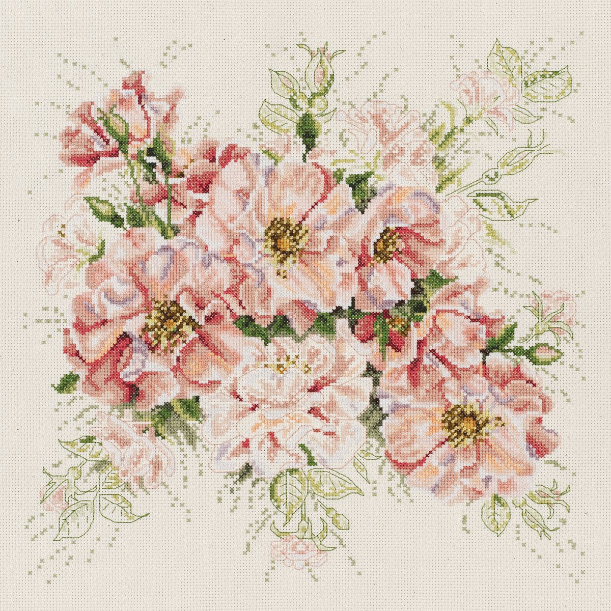 13 by 13-Inch Janlynn 106-0057 14 Count Garden Roses Counted Cross Stitch Kit