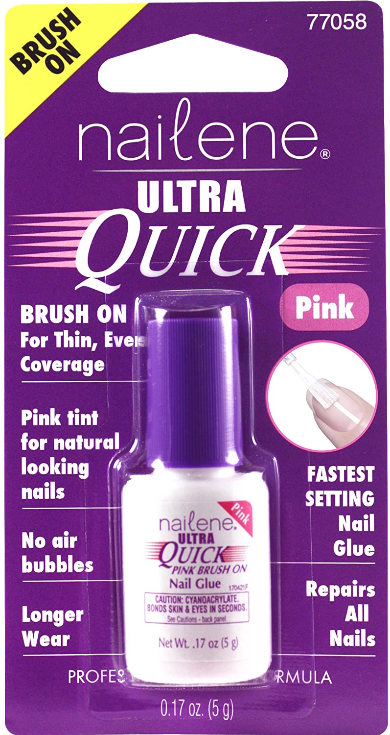 Nailene Ultra Quick Pink Brush-On Glue Nails, 17.009g Pacific World Corporation 77058