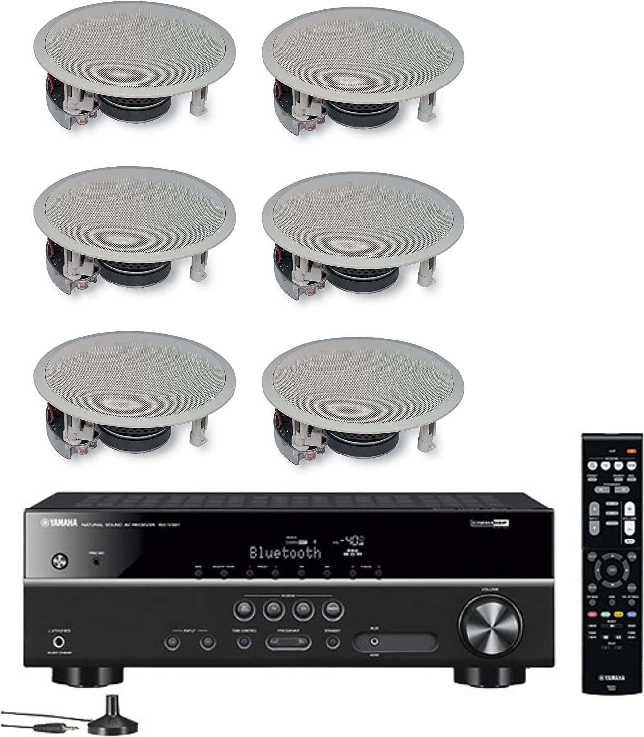 Yamaha 5.1-Channel Wireless Bluetooth 4K A/V Home Theater Receiver + Yamaha Easy-to-Install Natural Sound 2-Way Flush Mount in-Ceiling Speakers (Set of 6)