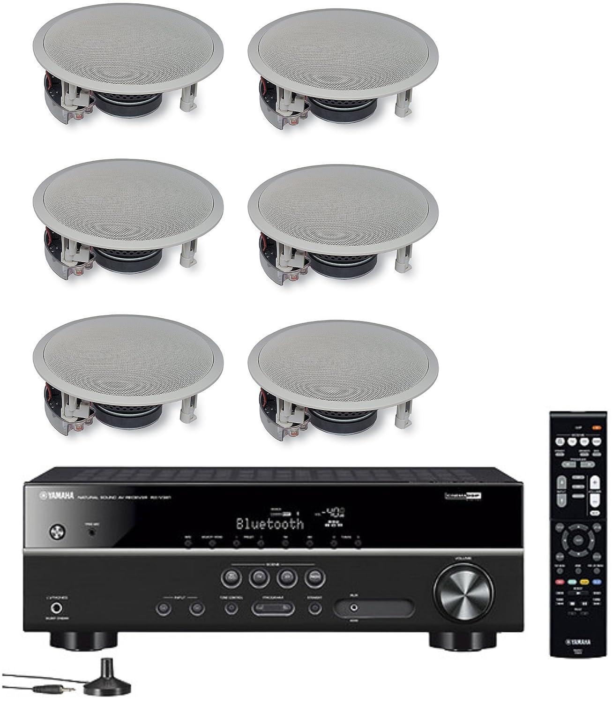 Yamaha 5.1 Canales inalámbrico Bluetooth 4 K Cine en casa a/V Receptor + Yamaha Sonido Natural Fácil de Instalar Montaje Empotrado de 2 Vías Altavoces de ...