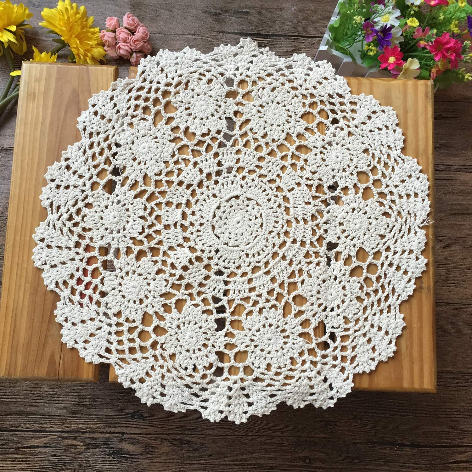 Round Hand Crochet Floral Doily Placemat Lace Table Mat Table Topper SPM
