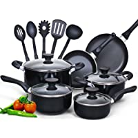 Cook N Home 15 Piece Non Stick Black Soft Handle Cookware Set