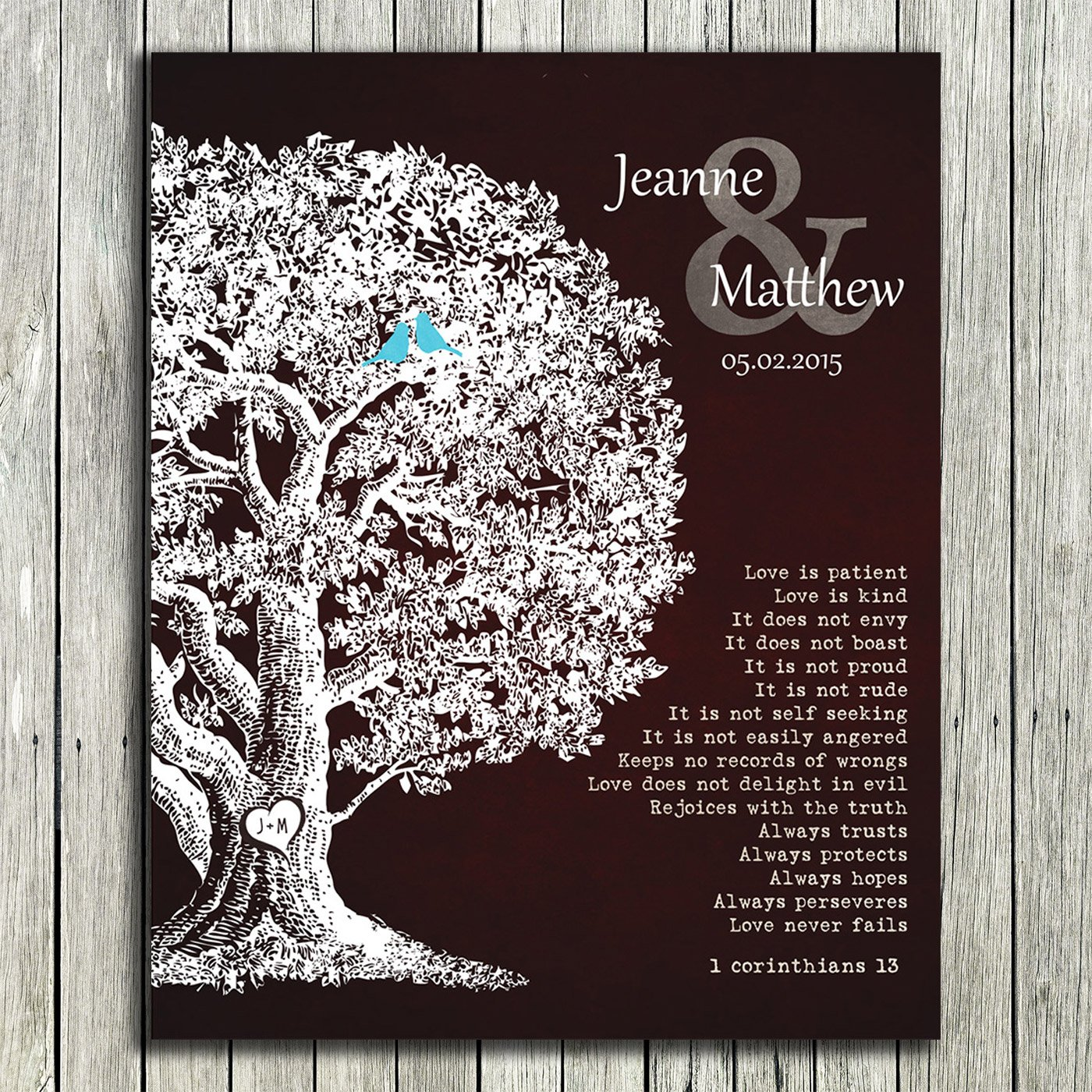 8x10 Unframed Print Personalized Gift Family Tree Anniversary Plaque 1 Corinthians 13 Carved Initials Love Is Patient Oak Tree Brown Background Custom Wedding Art