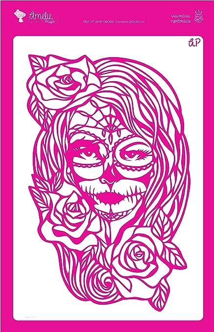 Amelie Prager AMP04006 Stencil Fondo Máscara Catrina, 20 x 30 cm