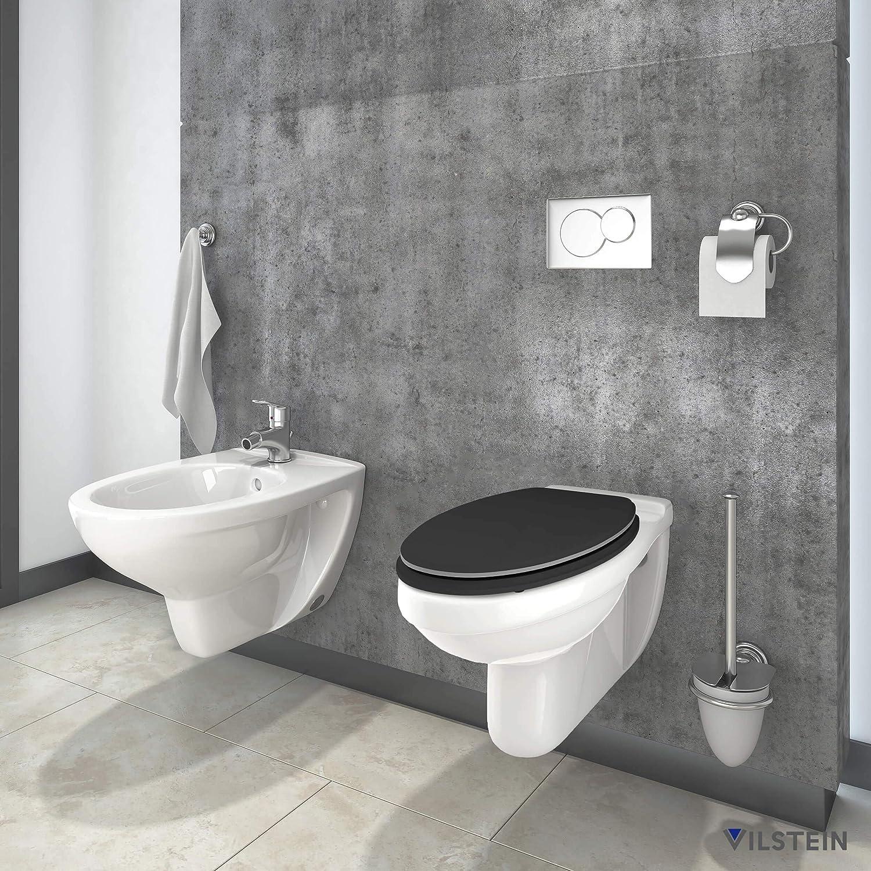 WC Sitz mit Absenkautomatik MDF Holz Stabile Metall-Scharniere verchromt hochwertige stabile Qualit/ät WC Deckel rostfrei Antibakteriell