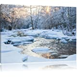 Stream in winter landscape, picture on canvas, XXL Pictures completely framed with large wedge frames, wall picture art print with frame, cheaper than painting or an oil painting, not a poster or placard, Leinwand Format:100x70 cm