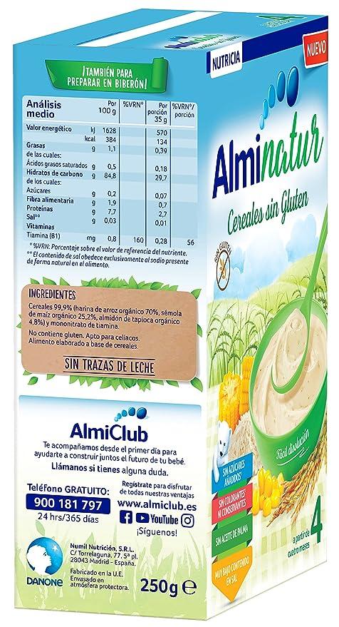 Alminatur Papilla de cereales sin Gluten a Partir de los 4 Meses - Paquete de 5 x 250 gr - Total: 1.25 kg: Amazon.es: Alimentación y bebidas