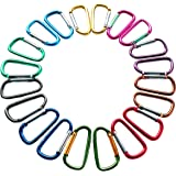 """2""""/5cm Carabeaner Assorted Colors D Shape Spring-loaded Gate Aluminum Carabiner for Home, Rv, Camping, Fishing, Hiking, Traveling and Keychain, Pack of 20"""