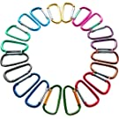 """Gold Lion Gear 2""""/5cm Carabeaner Assorted Colors D Shape Spring-Loaded Gate Aluminum Carabiner for Home, Rv, Camping, Fishing, Hiking, Traveling and Keychain, Pack of 20"""