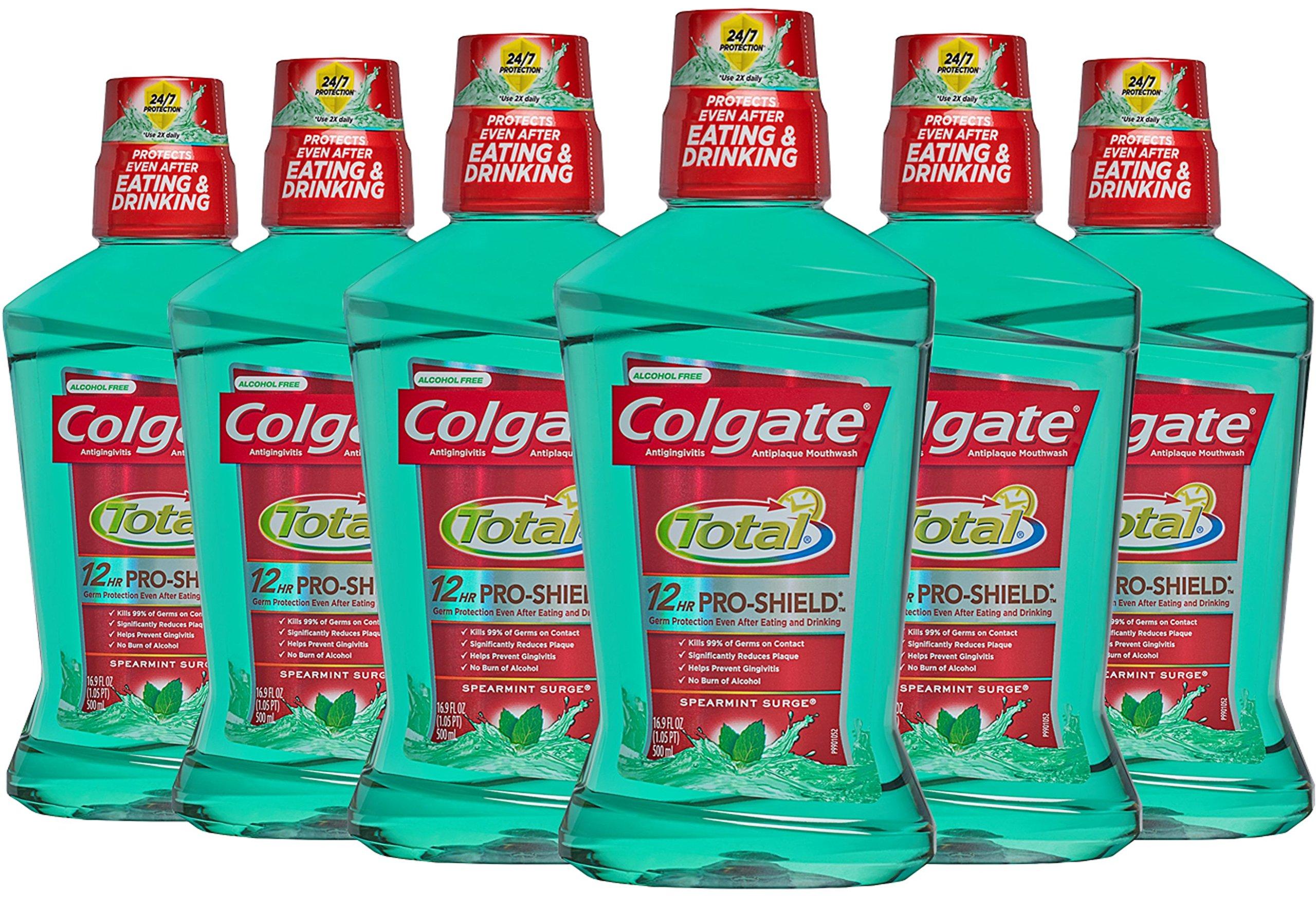 Colgate Total Pro-Shield Mouthwash, Spearmint - 500 mL (pack of 6)