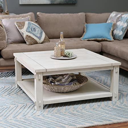 Craftsman Wood Top Westcott Square Coffee Table Antique White Finish. Made With Wood With MDF And Birch Veneer. Classic Shaker-Mission Style. 40W X 40D X 18H In.