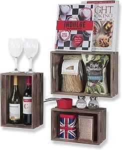Wallniture Kitchen Storage Wine Rack Wooden Crate Basket Walnut Set of 3