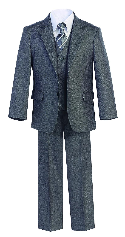 Magen Kids 5 Pc Boys Formal Gray Suit,Vest,Pant,Dress Shirt,Tie Set Size 1-18 BS-US-MN-9018-Gray