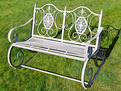 Envejecido gris victoriano hierro forjado Metal jardín Patio mecedora banco asiento: Amazon.es: Jardín