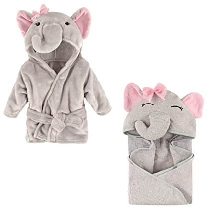 7ffe7991fd Hudson Baby Plush Animal Robe with Terry Hooded Towel