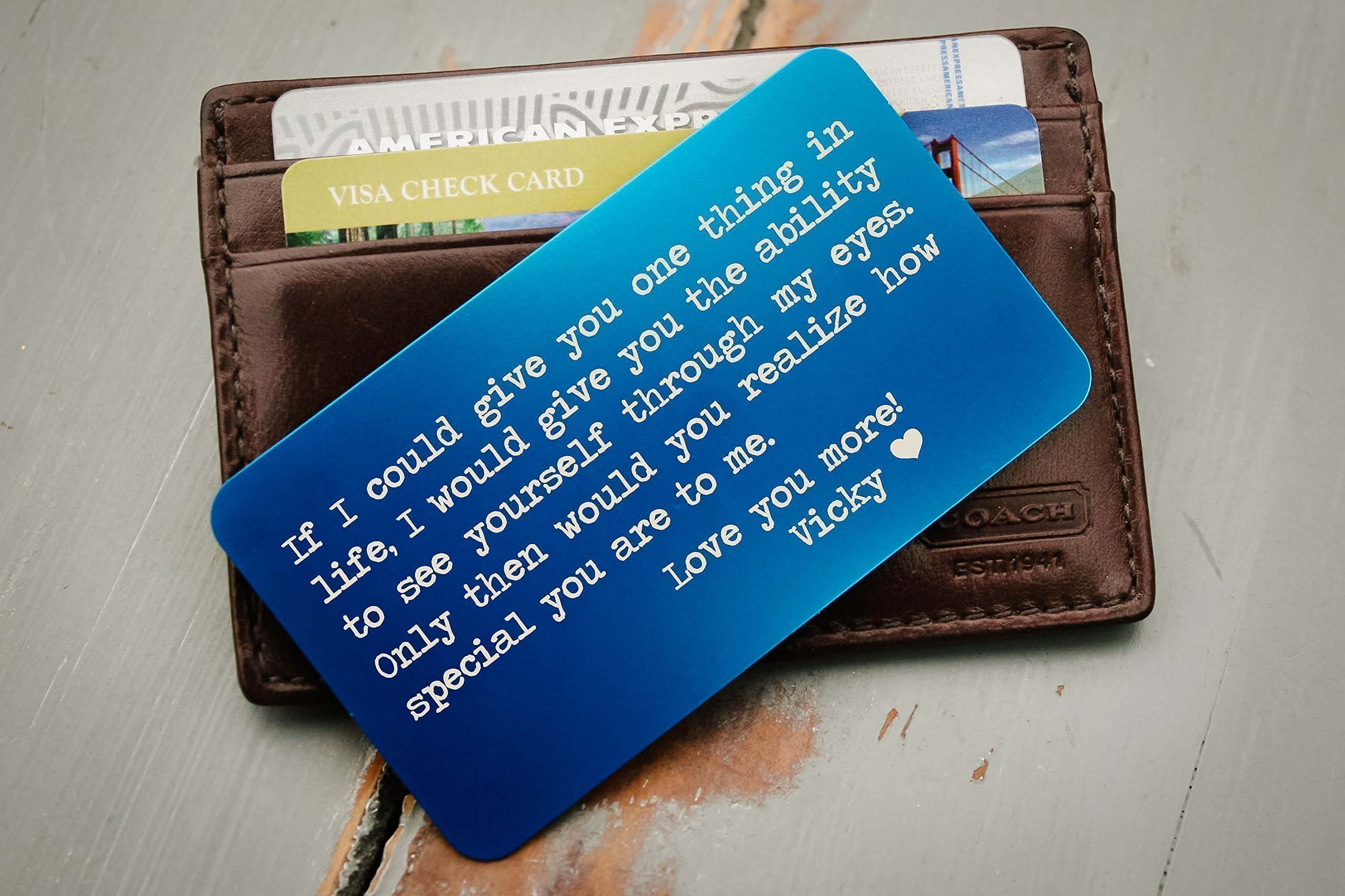 Custom Wallet Card, Personalized Engraved Wallet Insert, Personalized Wallet Card, Mini Love Note, Metal Wallet Card - Anniversary, Valentine's Day, Father's Day, Groom's Gift For Him