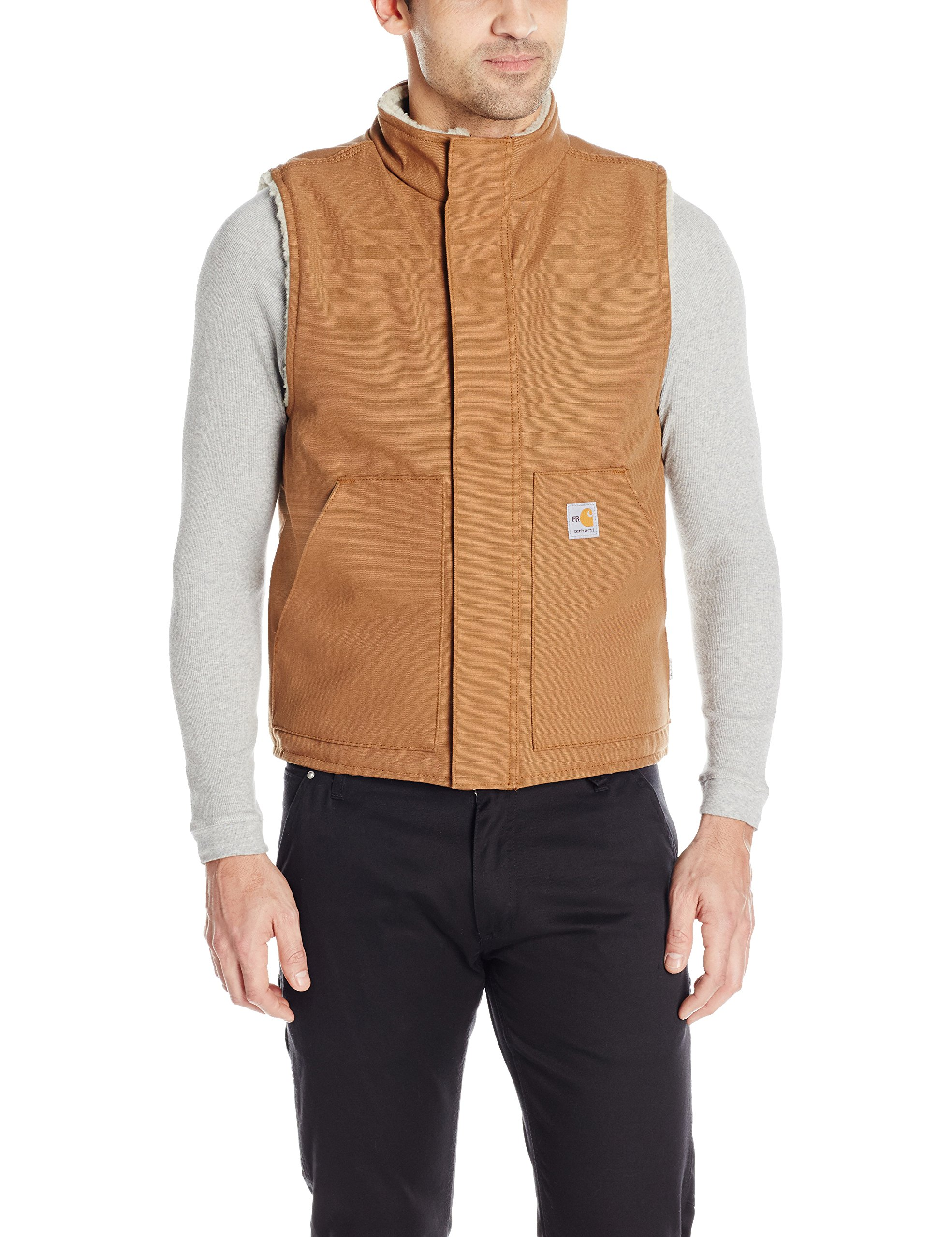 Carhartt Men's Flame Resistant Mock Neck Sherpa Lined Vest, Carhartt Brown, 2X-Large by Carhartt