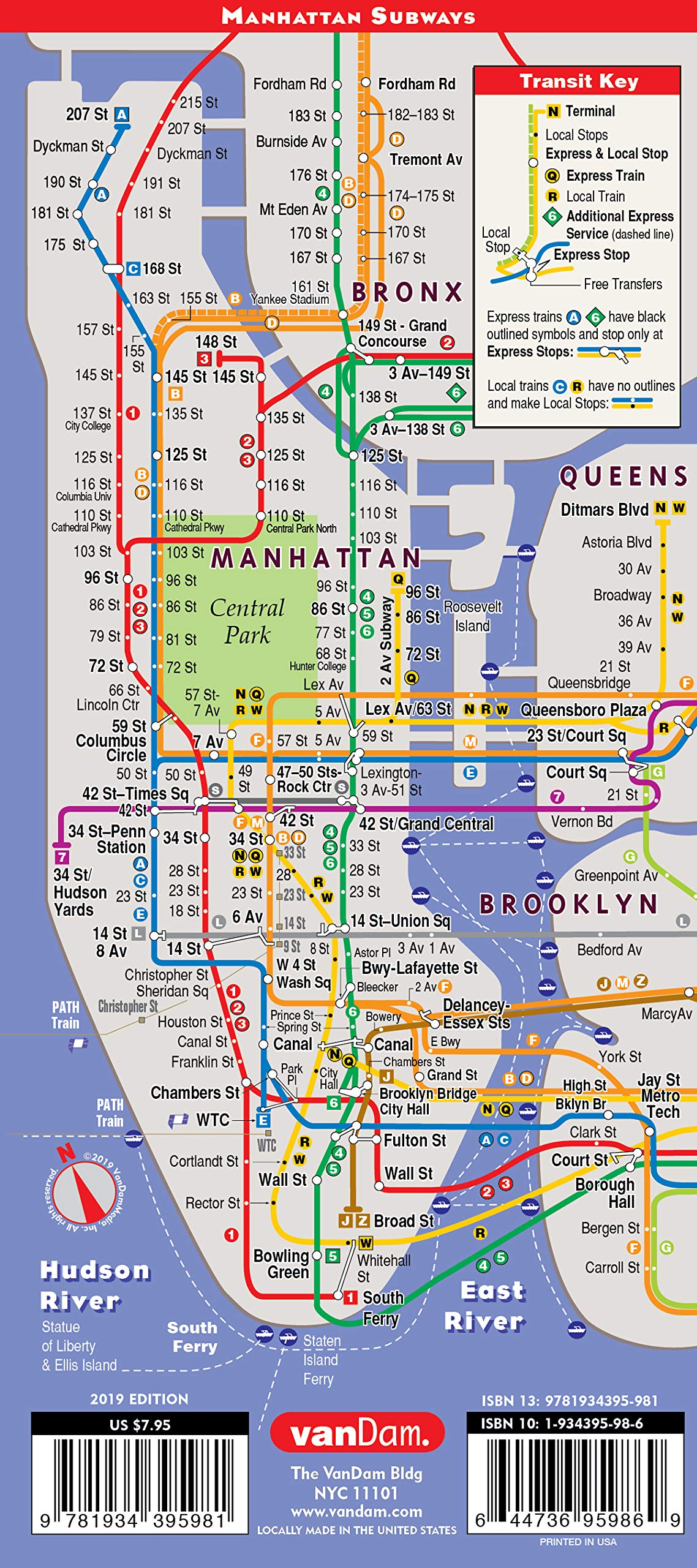 How To Read A Subway Map In Mandarin.Streetsmart Nyc Map 9 11 Edition By Vandam Laminated City Street