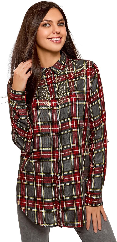 oodji Ultra Mujer Blusa de Viscosa con Decoración en el Pecho, Gris, ES 38 / S: Amazon.es: Ropa y accesorios