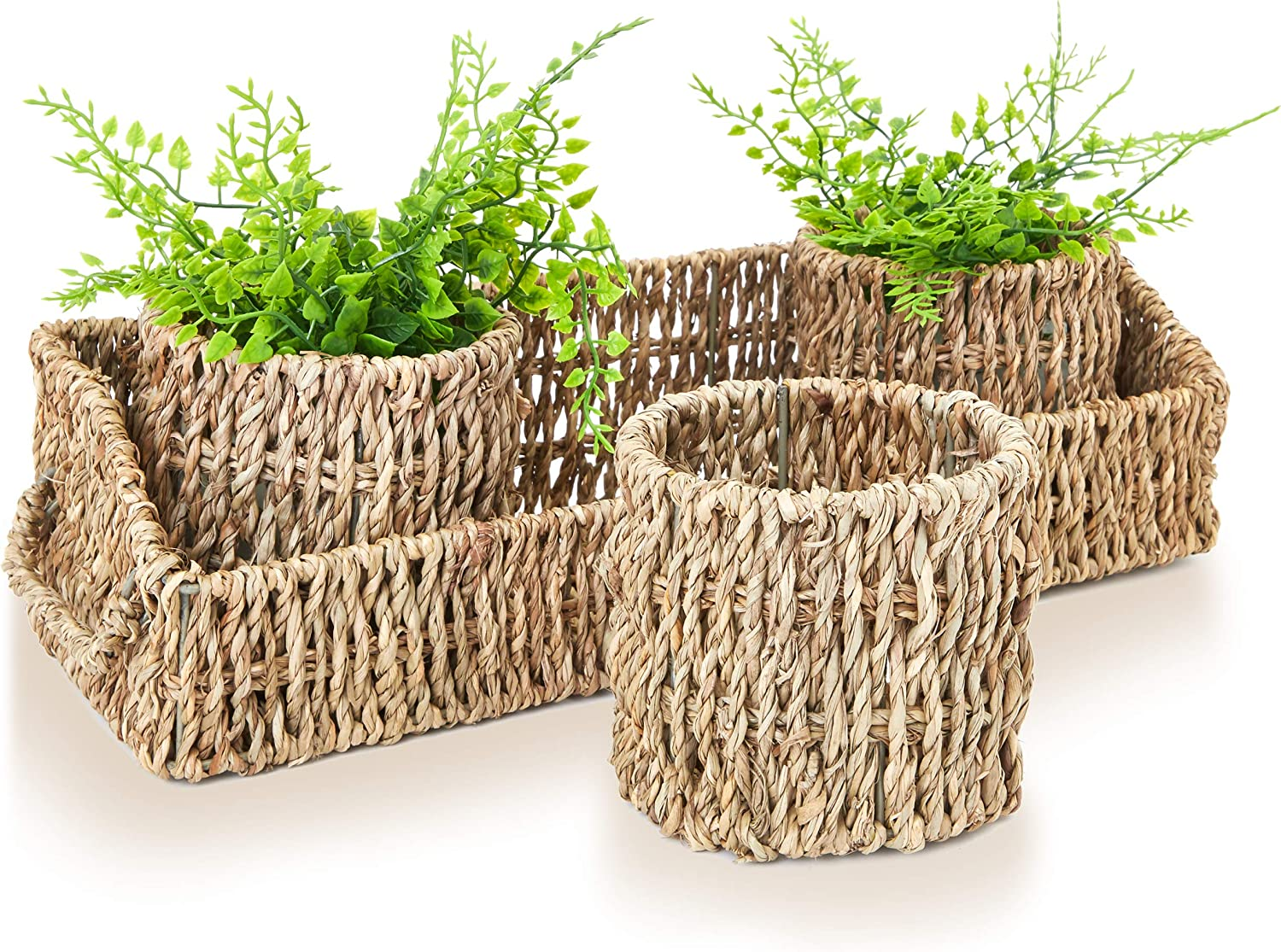 Juvale Round Seagrass Wicker Nesting Storage Basket Set with Rectangle Tray (4 Pieces)