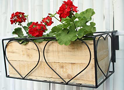 Green Gardenia Iron Heart Design Railing Planter With Wooden Box Natural