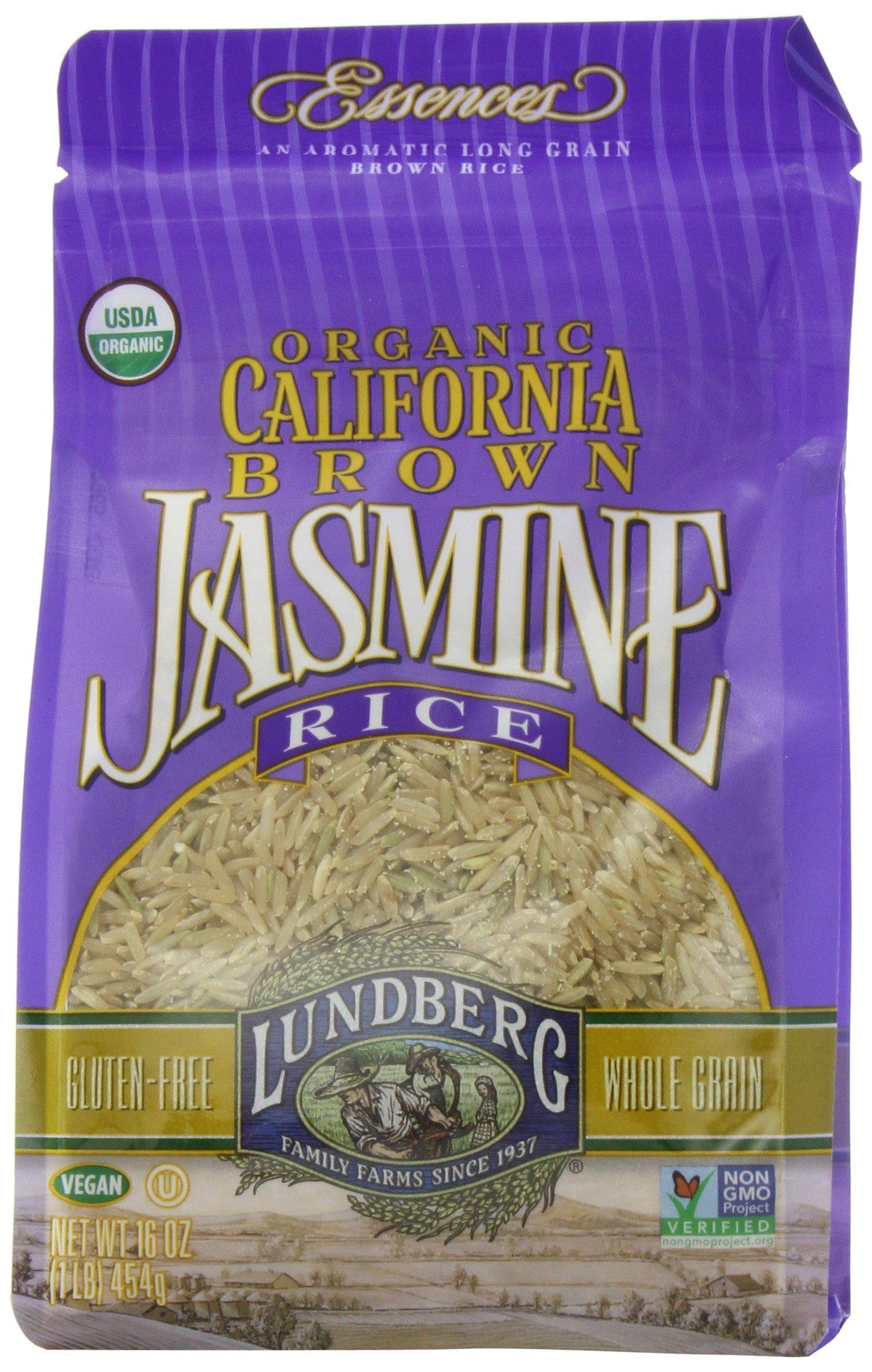 Lundberg Family Farms Organic Jasmine Rice, California Brown, 16 Ounce (Pack of 6)