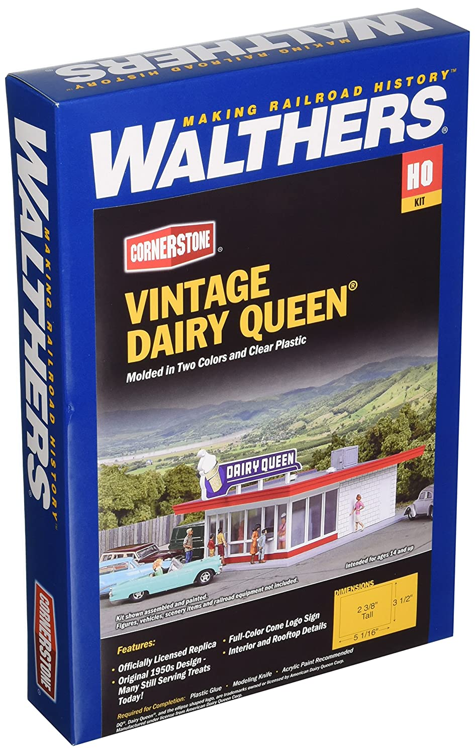Walthers Inc. Vintage Dairy Queen Kit 5 1 16 x 3 1 2 X 2 3 8 12.8 x 6cm