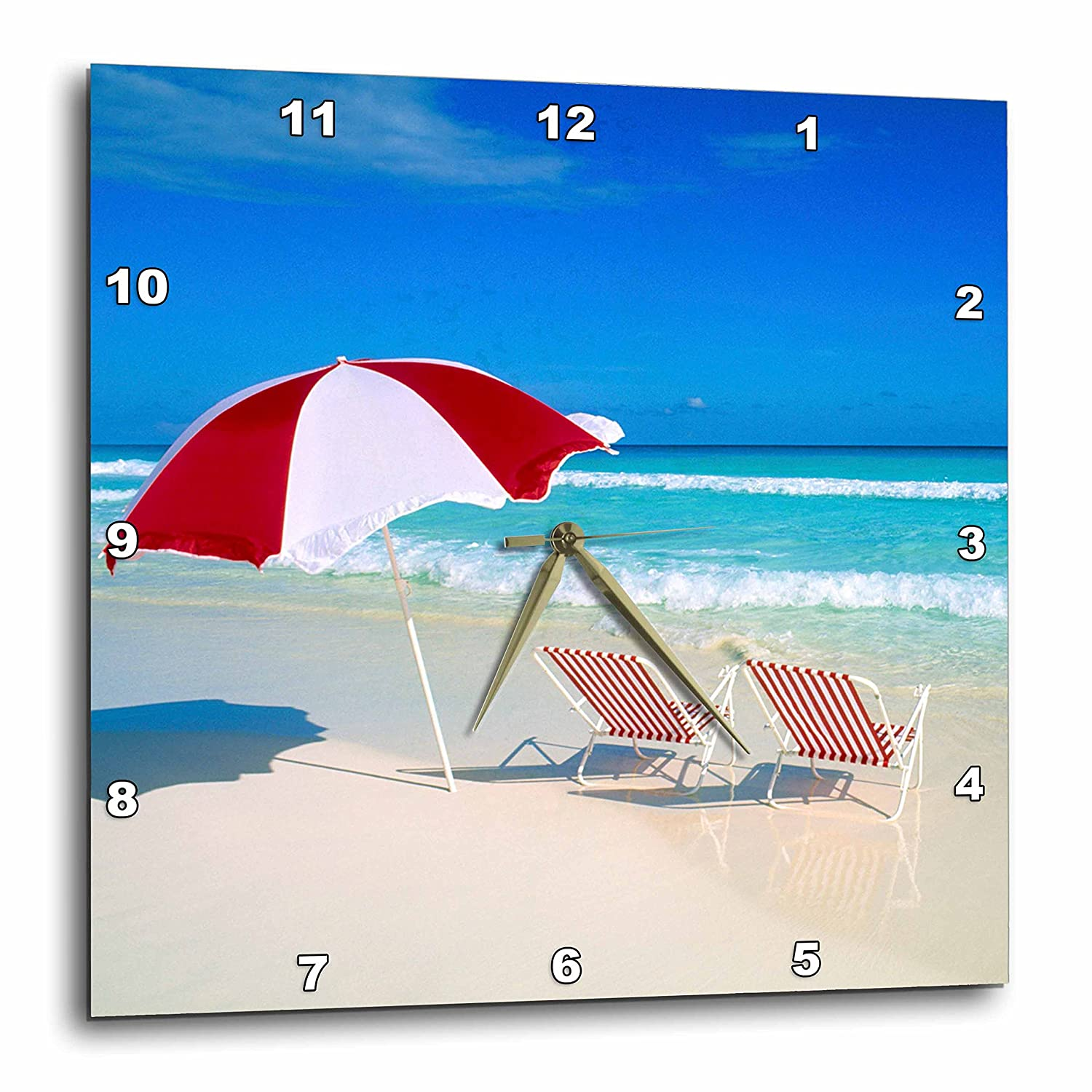15-inch DPP/_75641/_3 Tropical Beach scene-CA45 BBA0027-Bill Bachmann-Wall Clock 3dRose Caribbean Escape