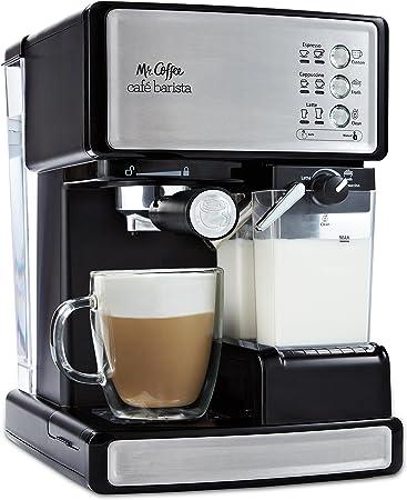 Mr. Coffee Cafe Barista Cafetera eléctrica para espresso con espumador de leche automático,…