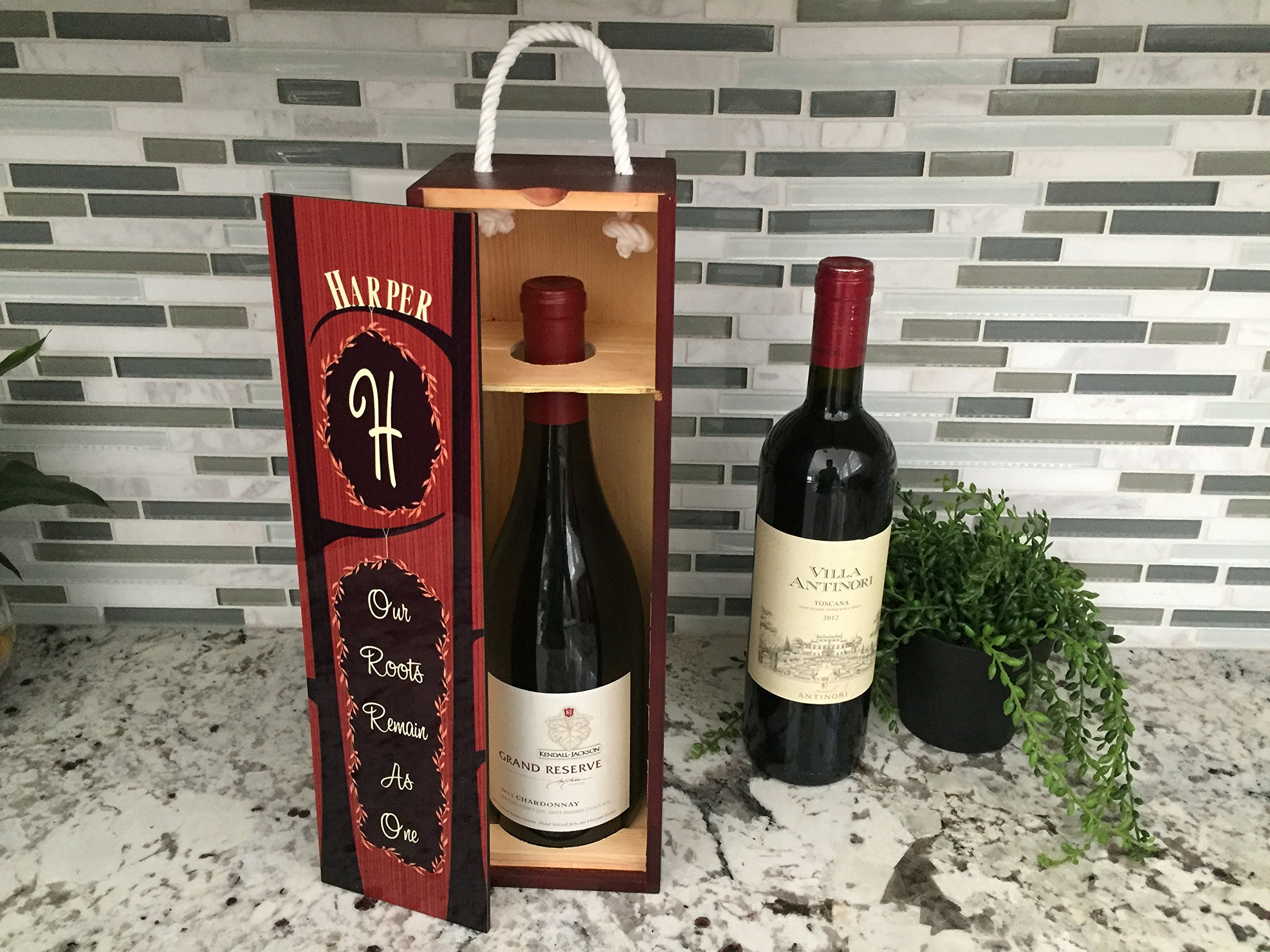 Personalized by Name Wine Accessories Unique Wedding Gifts for Wine Lovers (Single Wine Gift Box Case, Harper Design)