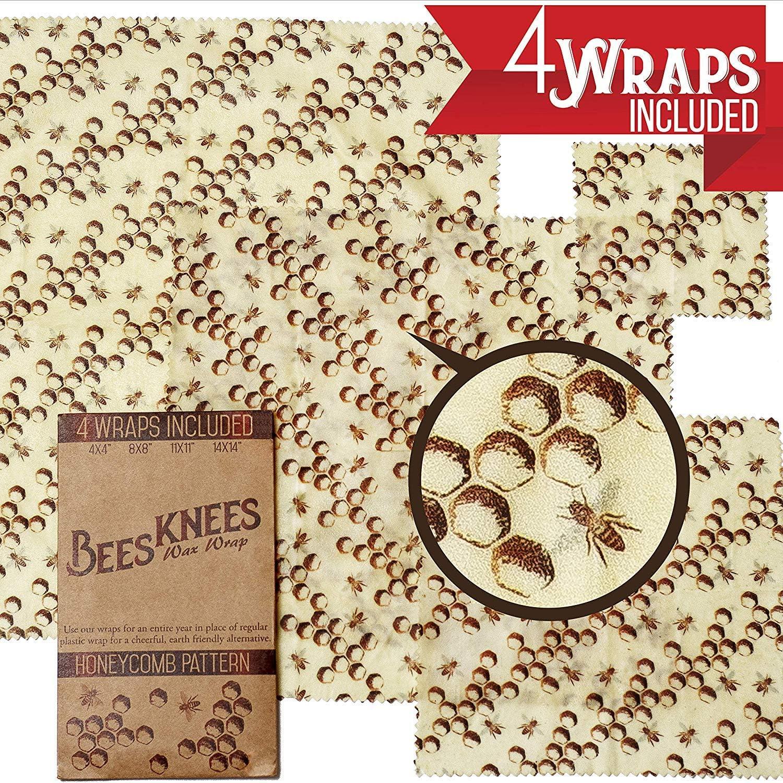 Beeswax Wraps - Pack de 4 paños de plástico reutilizables para alimentos alternativos de Bees Knees, tamaños incluyen 14 x 35,6 cm, 11 x 11, 8 x 8 cm, y 4 x 4 cm: Amazon.es: Hogar