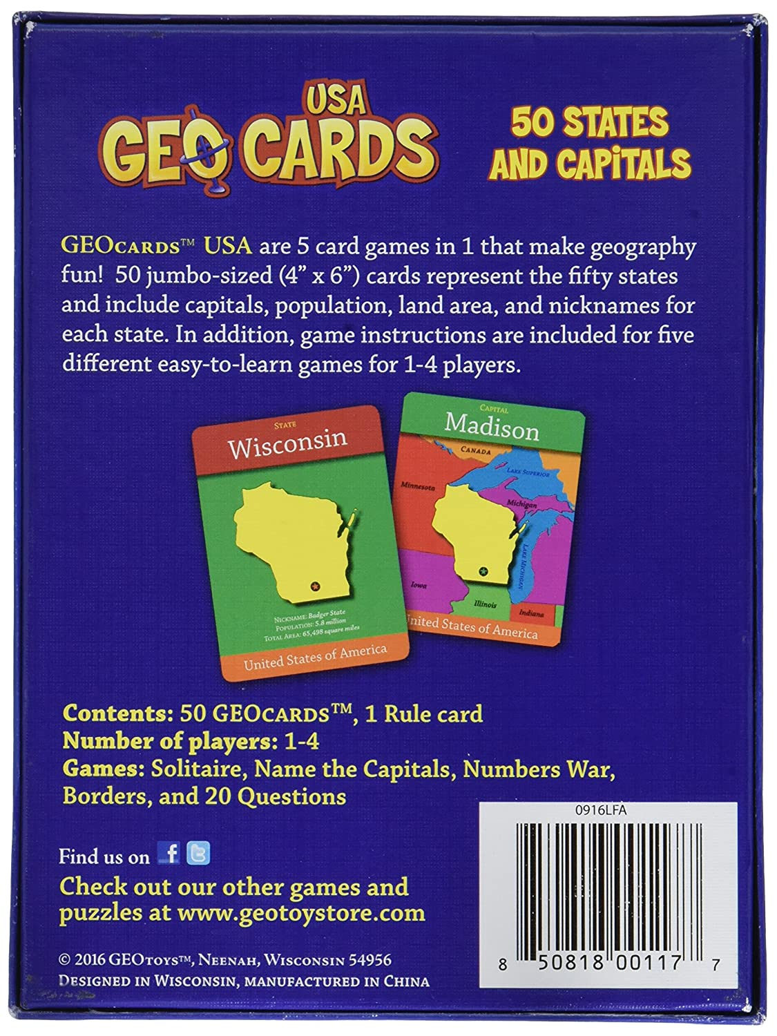 Amazon.com: GeoCards USA - Educational Geography Card Game: Toys & on