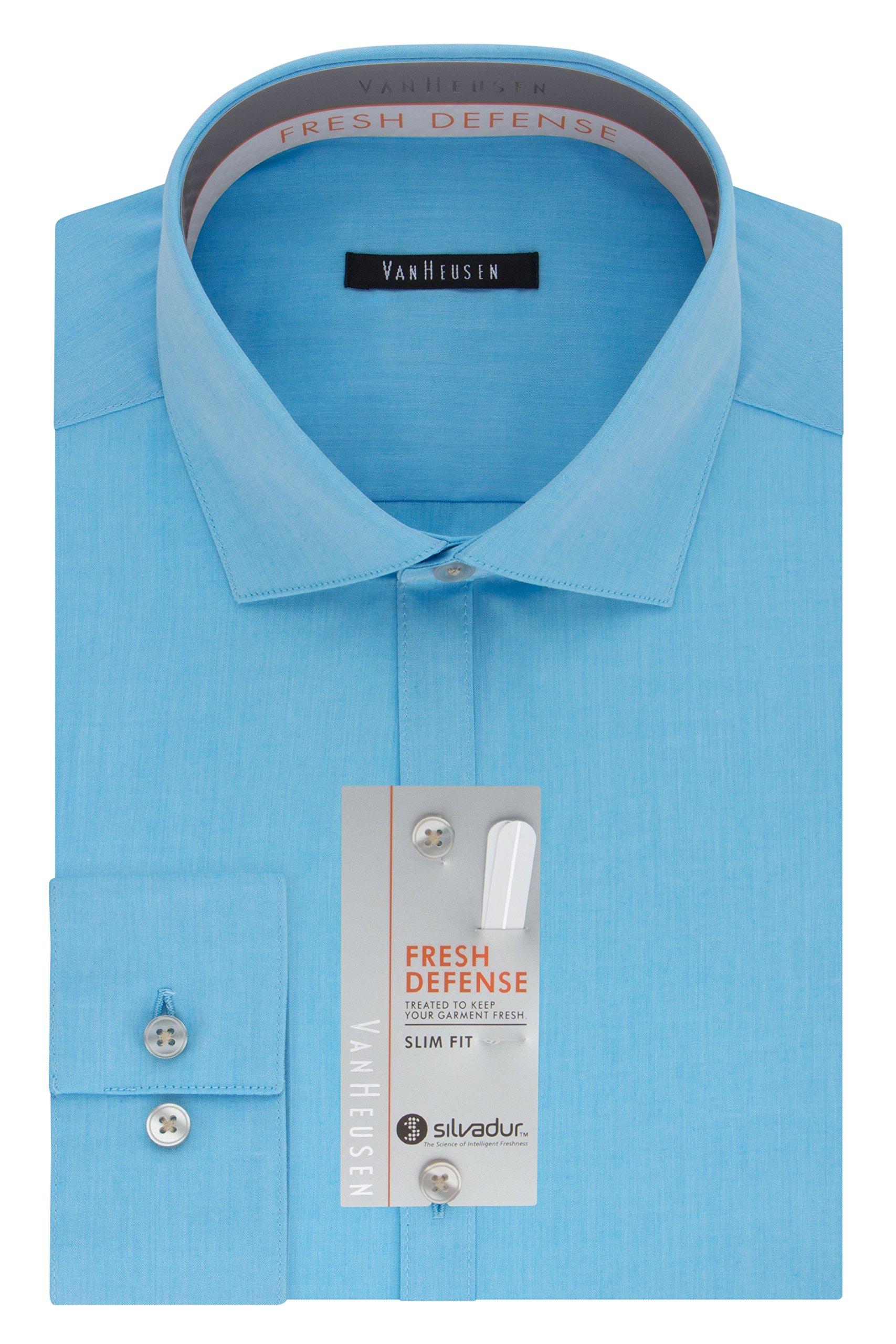 Van Heusen Men's Chrome Slim Fit Solid Spread Collar Dress Shirt, Aquamarine, 16.5'' Neck 34''-35'' Sleeve