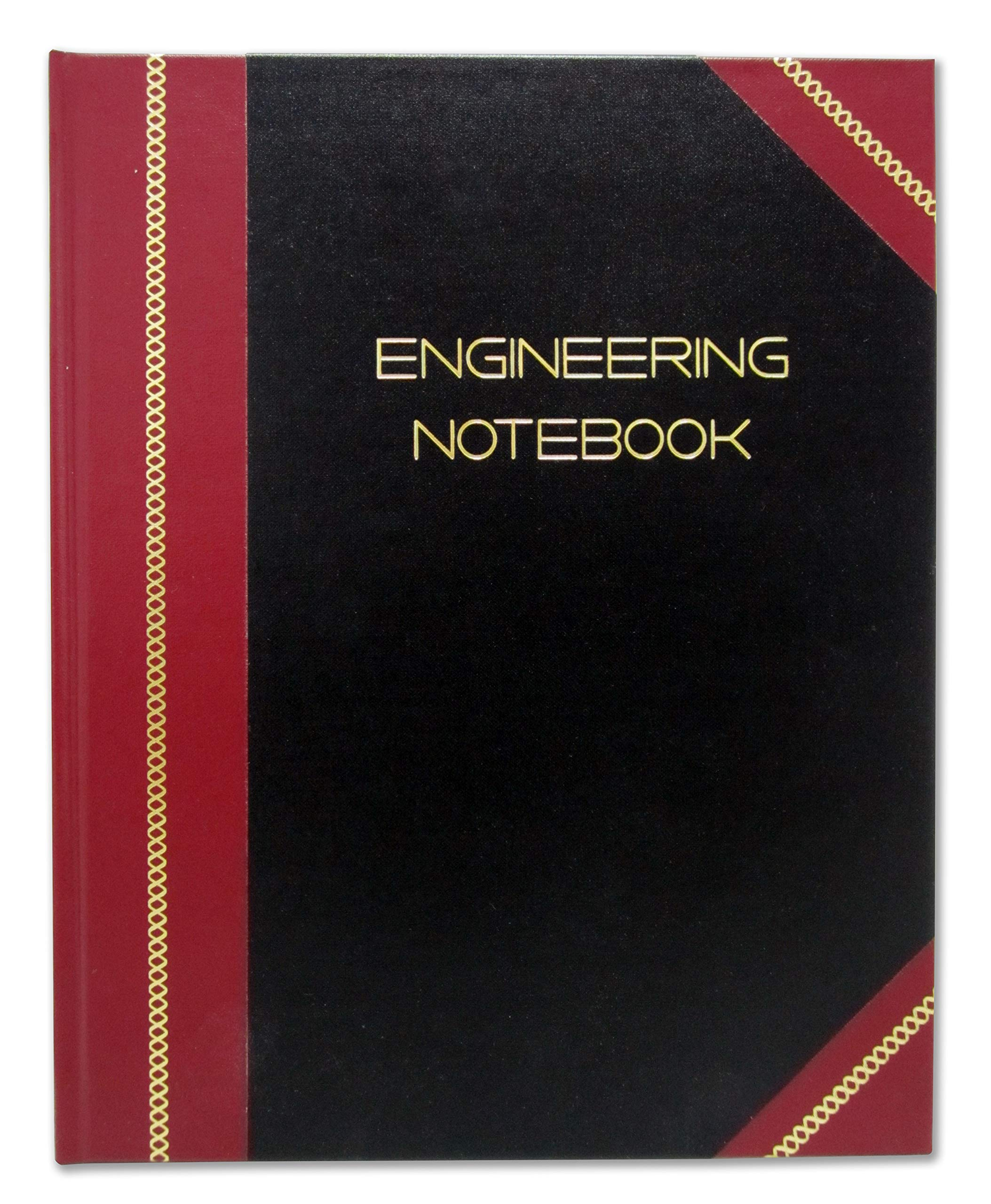 BookFactory Professional Engineering Notebook - 96 Pages (Quad Ruled - .25'' Engineering Grid Format), 8'' x 10'', Engineering Lab Notebook, Black and Burgundy Cover, Smyth Sewn Hardbound (EPRIL-096-SGS- by BookFactory