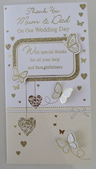 thank you mum dad on our wedding day card butterflies colour