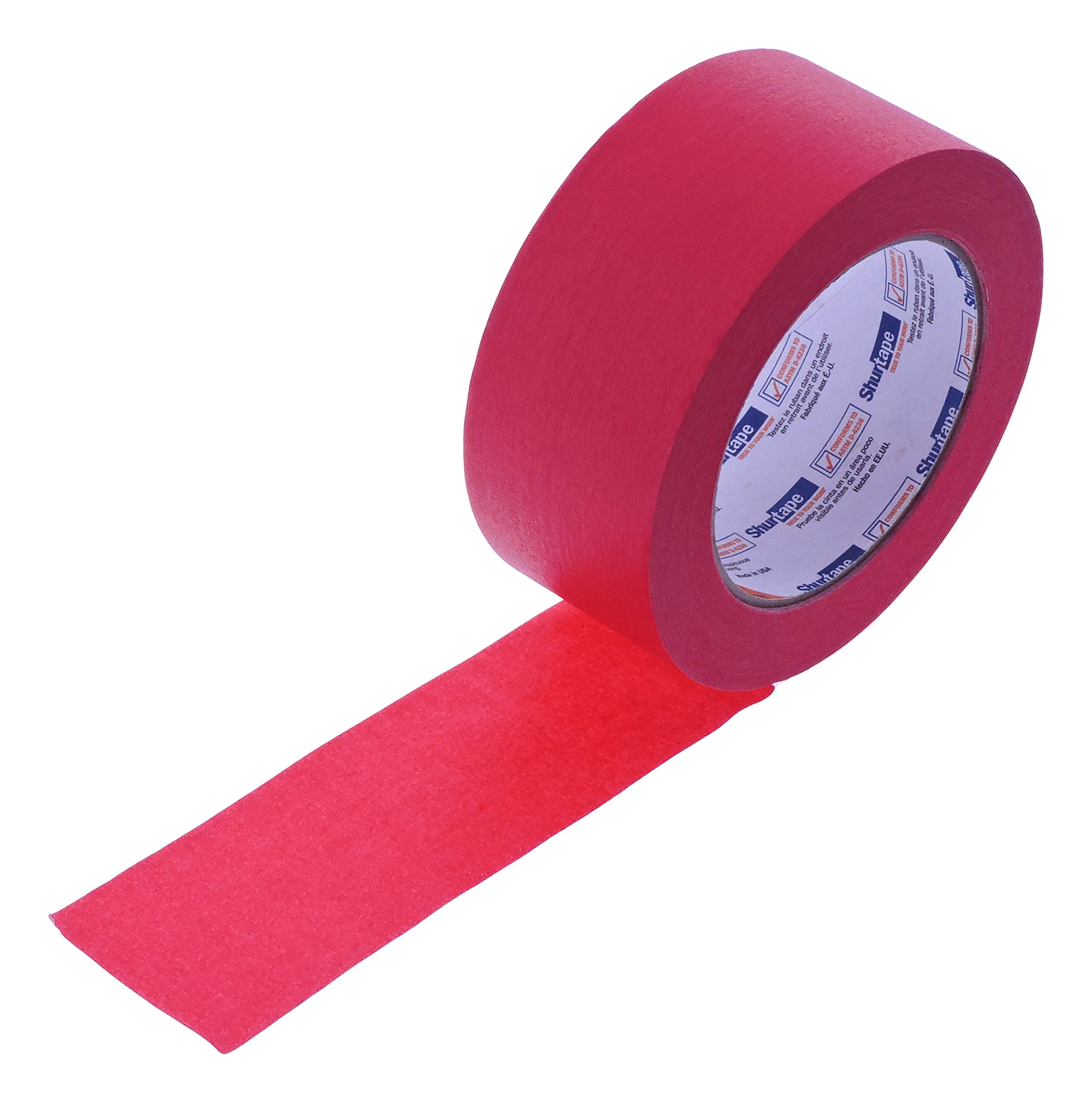 2'' in x 60yd Red Masking Tape Extra Sticky PRO Grade High Stick Special Project Painters Tape Painting Trim Arts Crafts School Home Office 21 Days 48MM x 55M 1.88 inch