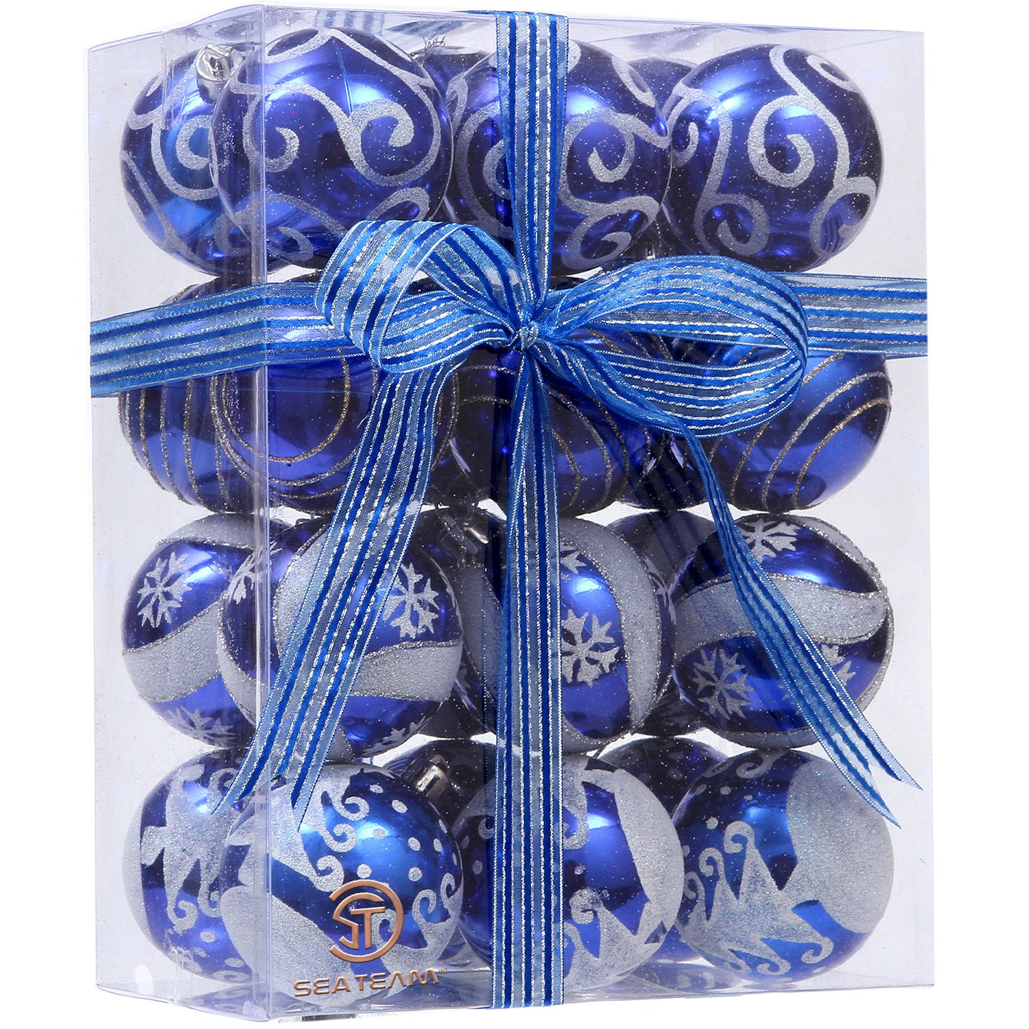 Delicate Painting & Glittering Shatterproof Christmas Ball Ornaments Decorative Hanging Christmas Ornaments Baubles Set for Xmas Tree Blues