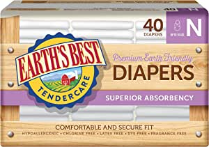 Earth's Best TenderCare Chlorine-Free Disposable Baby Diapers, Newborn Size (Up to 10 lbs), 40 Count (Pack of 4)