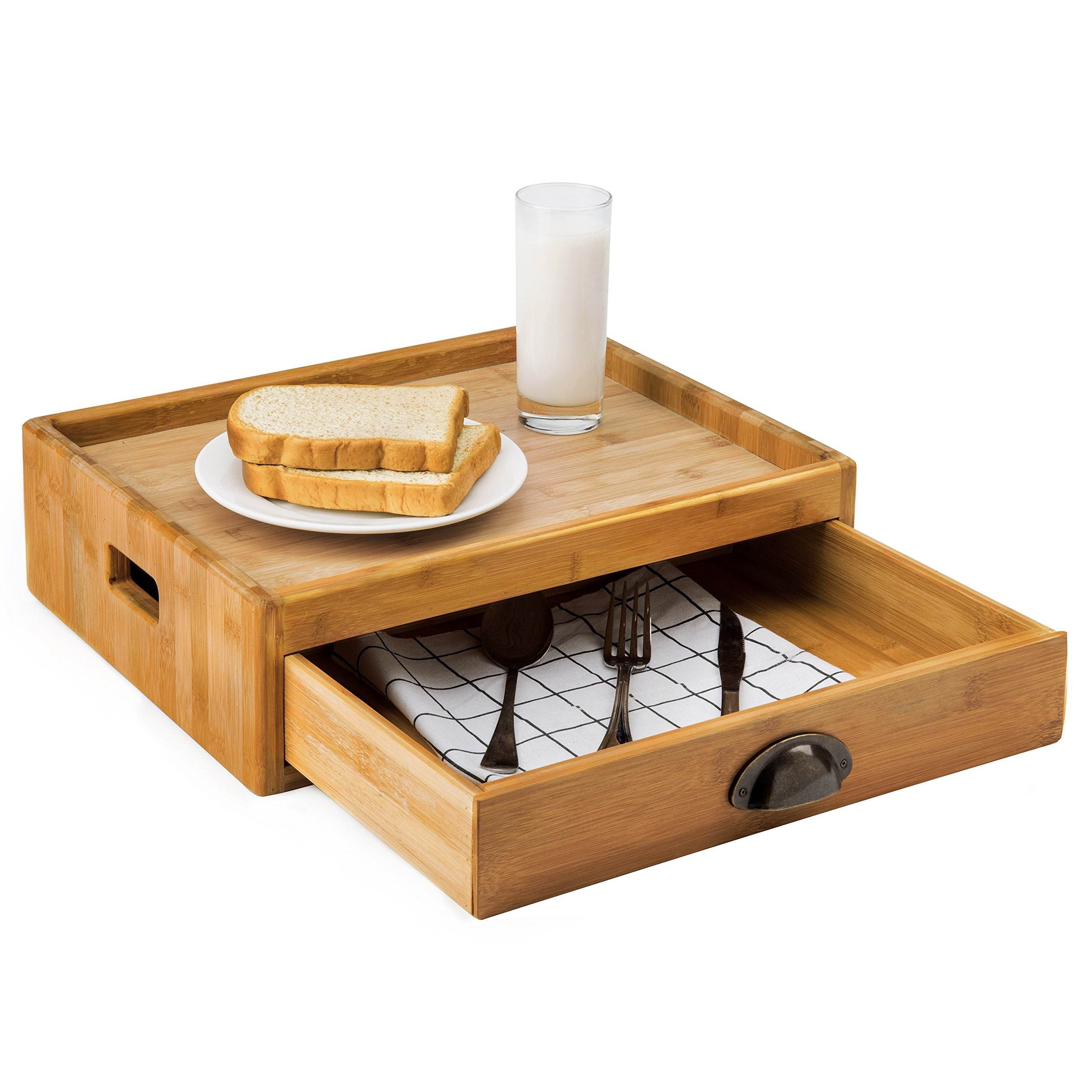 MyGift 16-Inch Natural Bamboo Serving Tray with Utensil & Napkin Storage Drawer