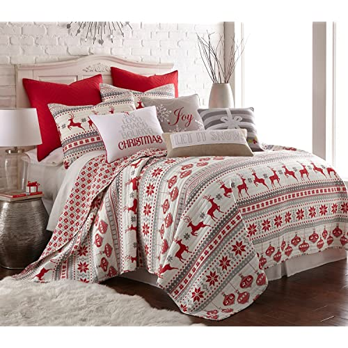 levtex silent night twin quilt set redgreywhite cotton christmas holiday - Christmas Bedding Holiday Bedding