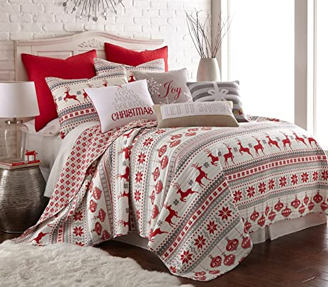 Amazon.com: Silent Night Twin Quilt Set, Red/Grey/White, Cotton ... : red cotton quilt - Adamdwight.com
