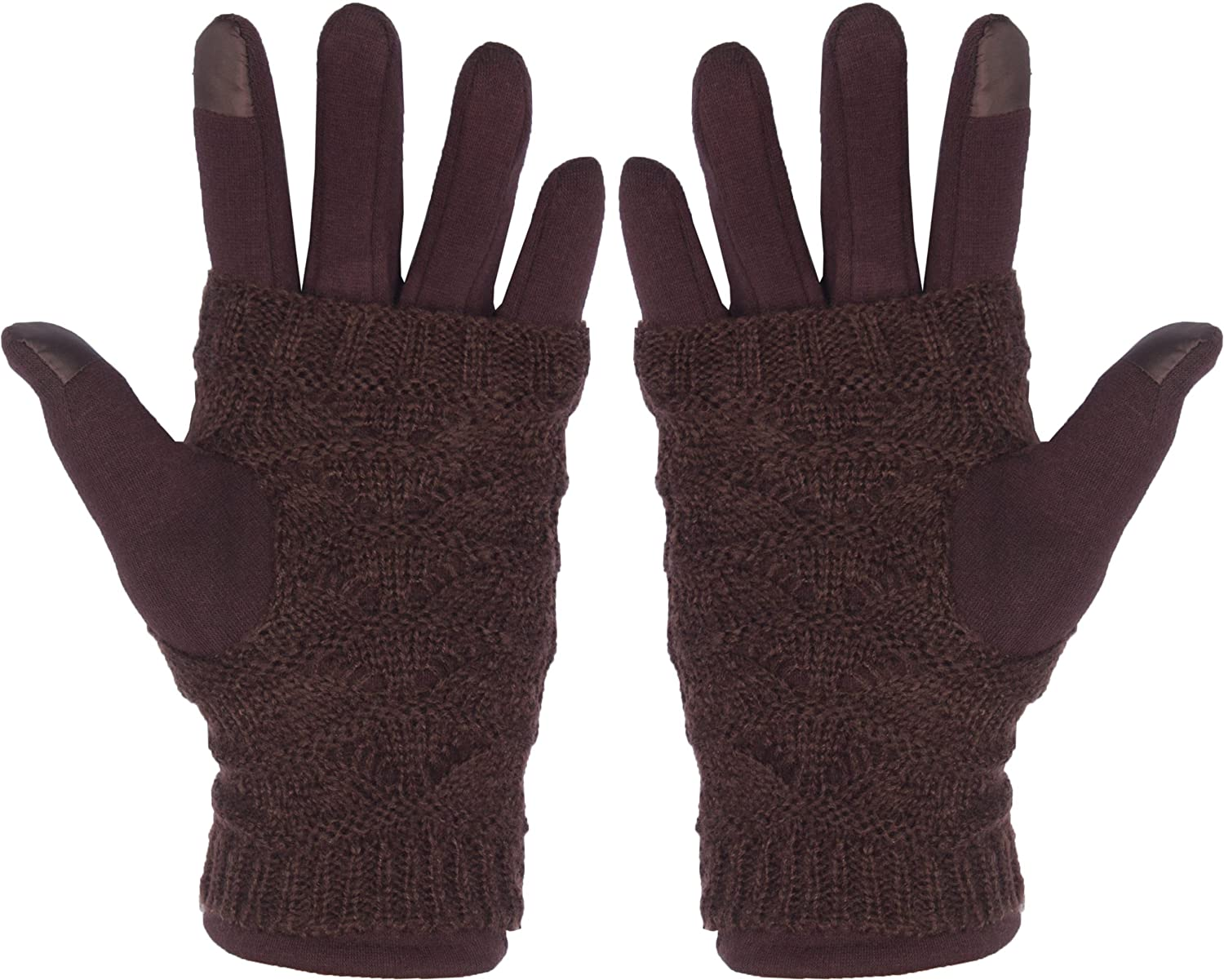 DRY77 Women Fashion Winter Fur Lining Smart Phone Screen Gloves Casual Cold