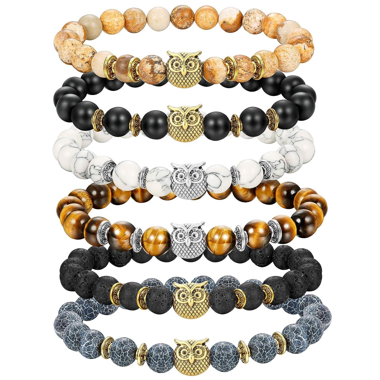 Jstyle 8mm Bead Bracelets Set for Women Mens Owl Charm Natural Lava Rock Stone Elastic Bracelet MB13528-6Pcs